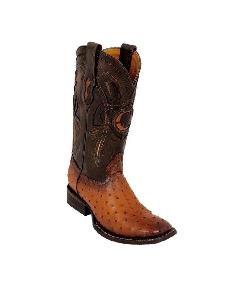 890ddb2979c CUADRA- Men's Ostrich Rodeo Square Toe Boots ( Flame Miel )