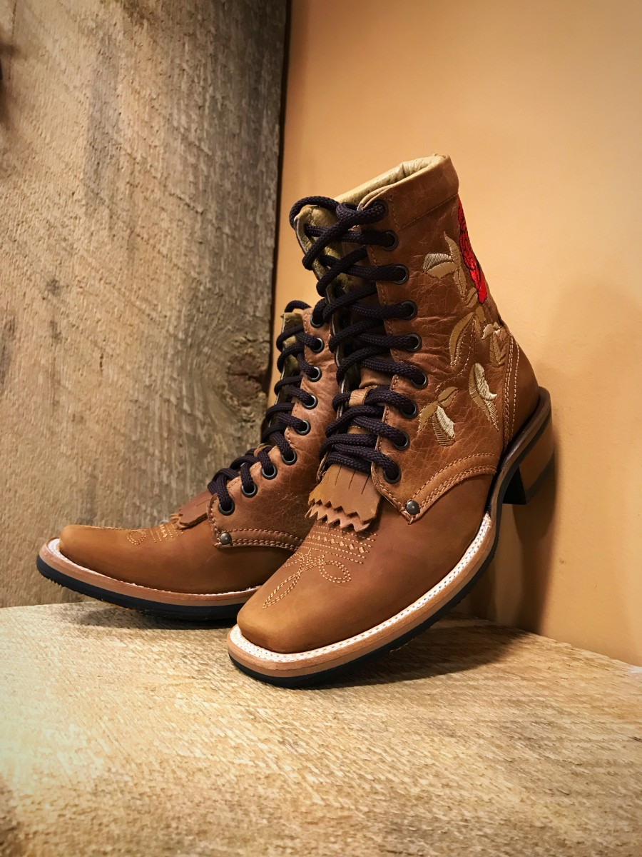 Women S Embroidery Rose Square Toe Lace Up Boots