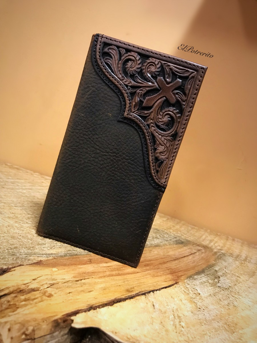 Ariat Tooled Cross Rodeo Leather Wallet Med Brown