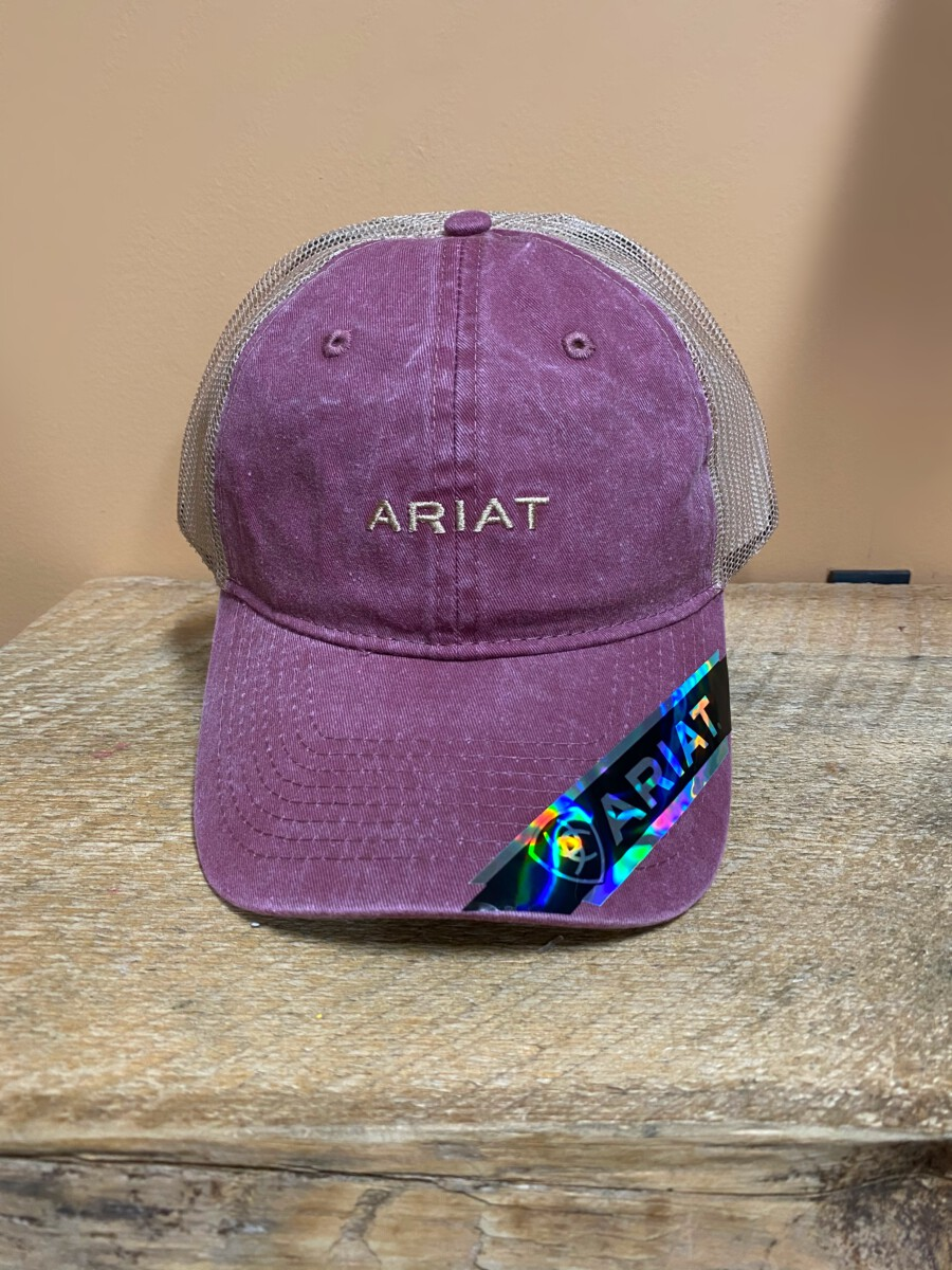 Ariat Womens Hat Baseball Cap Mesh Back Embroidered Burgundy A300009809